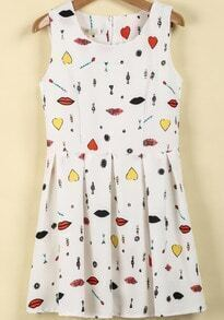White Sleeveless Lips Print Pleated Dress