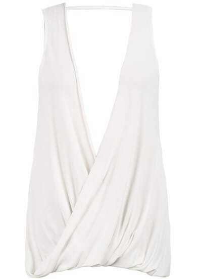 White Deep V Neck Sleeveless Backless Blouse