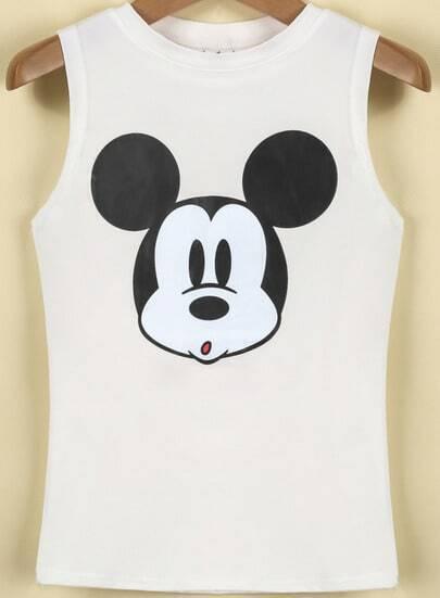 White Sleeveless Mickey Print Crop Vest