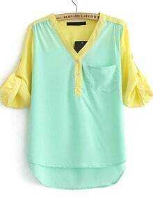 Green V Neck Contrast Long Sleeve Chiffon Blouse