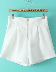 White High Waist Zipper Shorts