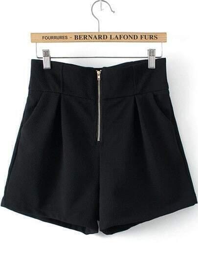 Black High Waist Zipper Shorts
