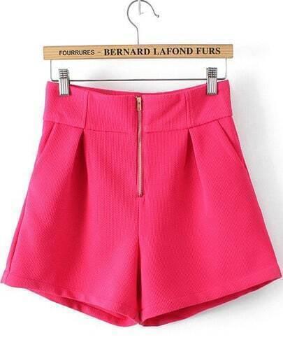 Red High Waist Zipper Shorts