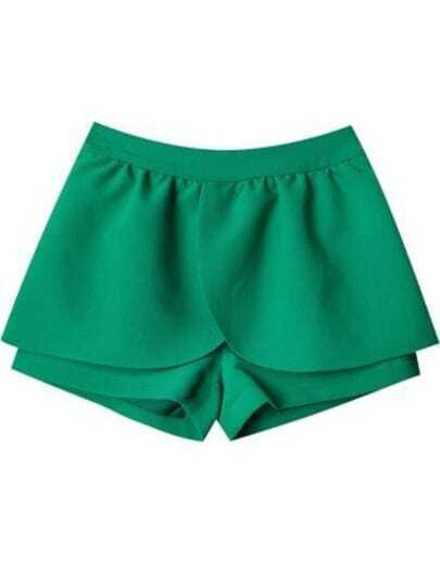 Green High Waist Skirt Shorts