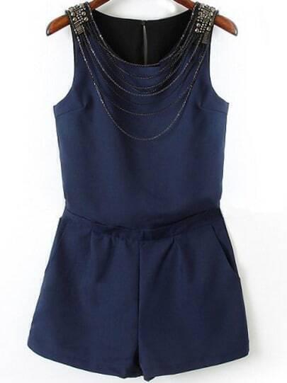 Navy Sleeveless Chain Embellished Jumpsuit