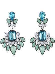 Green Geometric Gemstone Silver Earrings