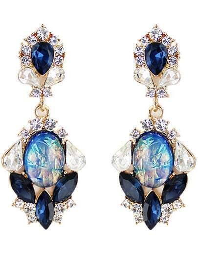 Blue Drop Gemstone Gold Diamond Earrings