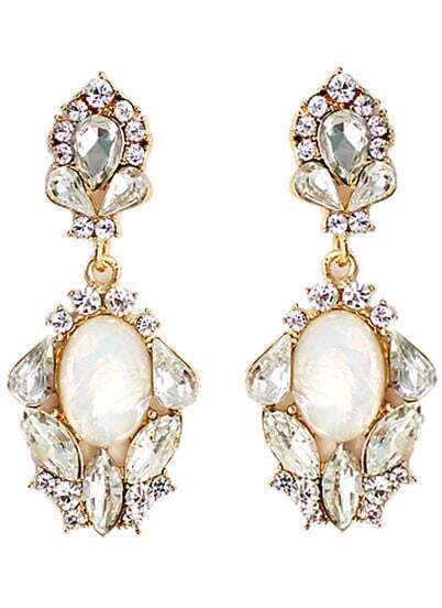 White Drop Gemstone Gold Diamond Earrings