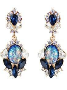 Blue Drop Gemstone Gold Diamond Earrings
