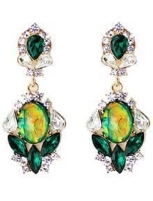 Green Drop Gemstone Gold Diamond Earrings