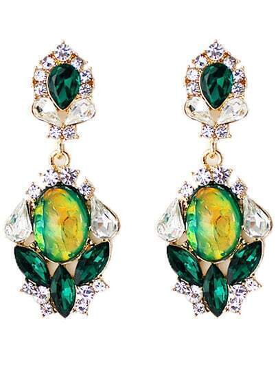 Green Drop Gemstone Gold Diamond Earrings