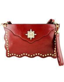 Red Skull Embellished Clutch Bag