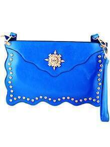 Blue Skull Embellished Clutch Bag