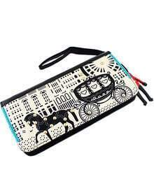 Black Carriage Print Soldier Clutch Bag -SheIn(Sheinside)