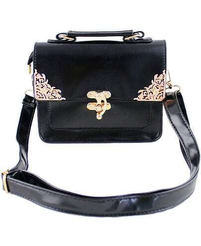 Black Metal Embellished Shoulder Bag