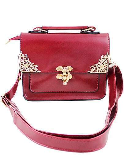 Red Metal Embellished Shoulder Bag