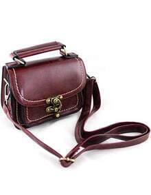 Red Vintage Contrast Trims Shoulder Bag -SheIn(Sheinside)