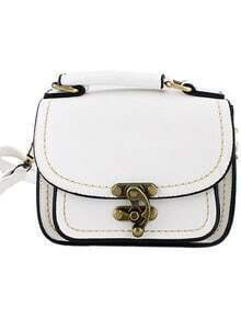 White Vintage Contrast Trims Shoulder Bag