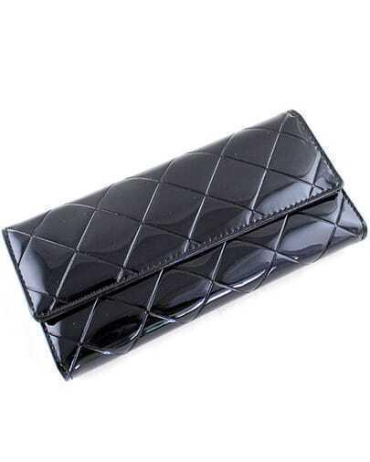 Black Geometric Pattern Patent Leather Clutch Bag