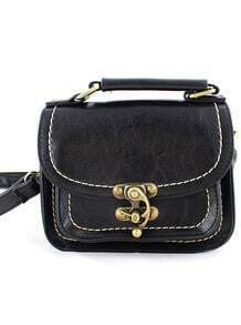 Black Vintage Contrast Trims Shoulder Bag