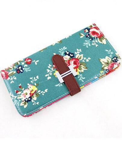 Green Floral Buckle Clutch Bag