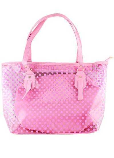 Pink Polka Dot Sheer Shoulder Bag