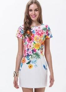White Short Sleeve Patterned Florals Print Pastel Dress