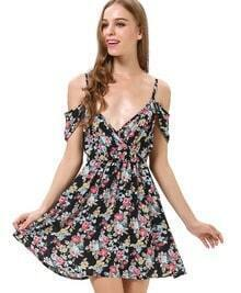 Black V-neck Off the Shoulder Florals Print Dress