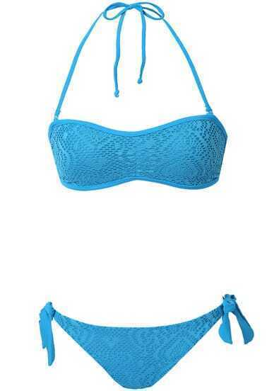 Blue Halter Hollow Strapless Bandeau Bikini