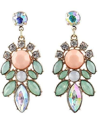 Green Gemstone Gold Diamond Flower Earrings