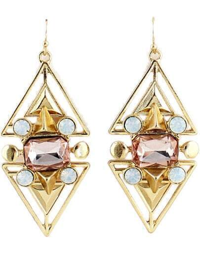 Gold Diamond Hollow Triangle Dangle Earrings