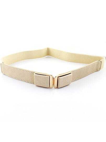 White Elastic Metal Buckle Belt