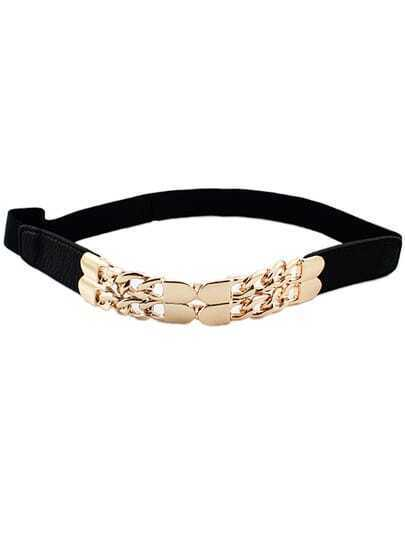 Black Elastic Metal Chain Belt