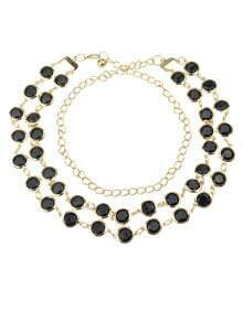 Black Gemstone Gold Chain Belt