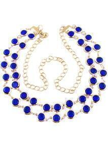Blue Gemstone Gold Chain Belt