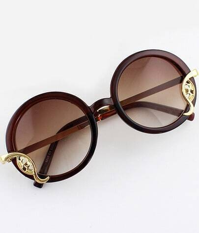 Brown Round Metal Embellished Sunglasses