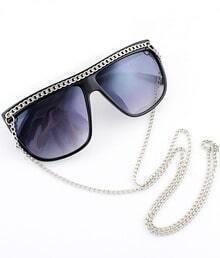 Purple Lenses Black Chain Embellished Sunglasses