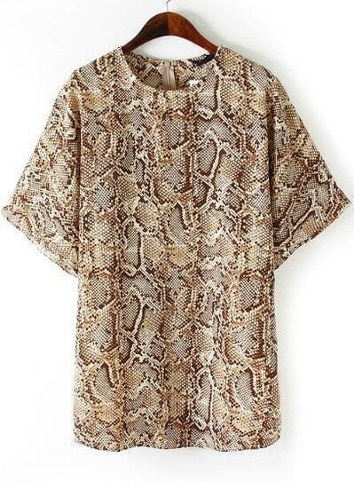 Yellow Half Sleeve Snakeskin Print Loose Dress