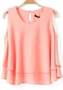 Pink Sleeveless Cascading Ruffle Chiffon Blouse