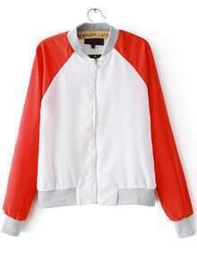 White Contrast Red Long Sleeve Zipper Jacket