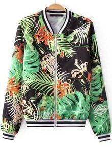 Green Long Sleeve Leaves Print Vintage Jacket