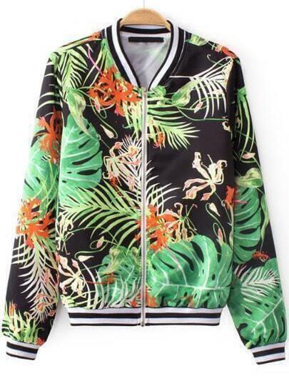 Green Long Sleeve Leaves Print Vintage Jacket