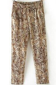 Yellow Drawstring Waist Snakeskin Print Loose Pant