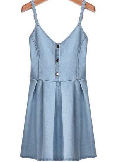 Light Blue Spaghetti Strap Buttons Denim Dress