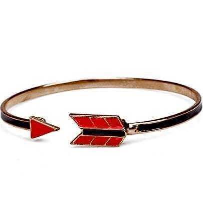 Black Red Glaze Gold Arrow Bracelet