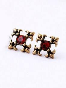 Red Gemstone Retro Gold Stud Earrings