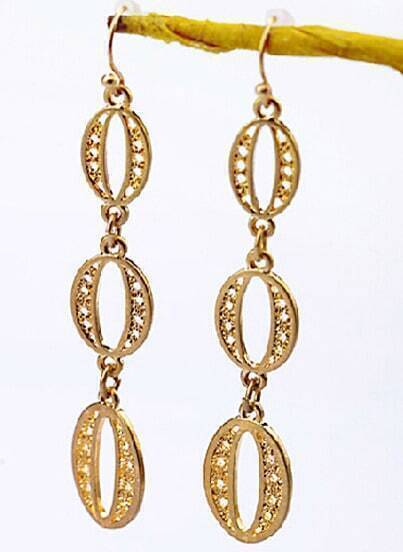 Gold Hollow Dangle Earrings