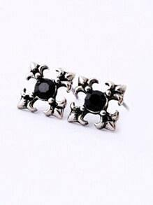 Black Gemstone Retro Silver Stud Earrings