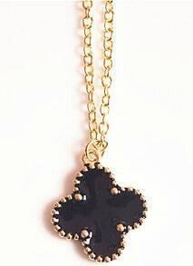 Black Glaze Gold Flower Chain Necklace