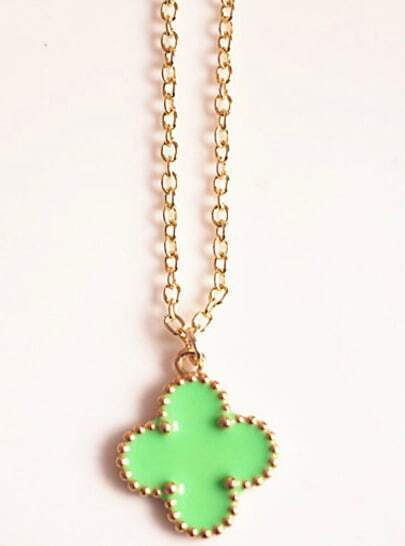 Green Glaze Gold Flower Chain Necklace